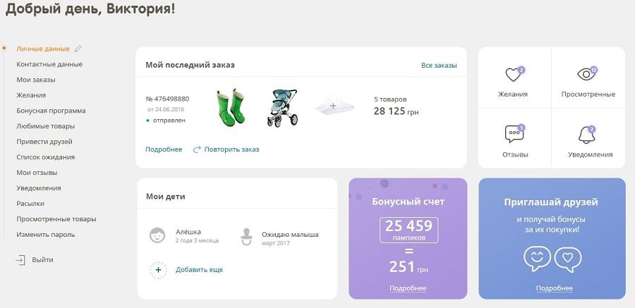 Пример оформления страницы личного кабинета интернет-магазина Pampik